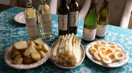 Asperge Box Foto witte wijnen Frankrijk Spanje asperges