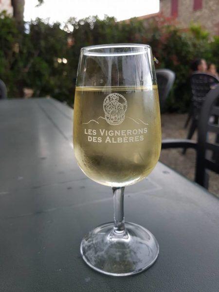 Foto glas witte wijn terras Frankrijk Les Vignerons des Albères
