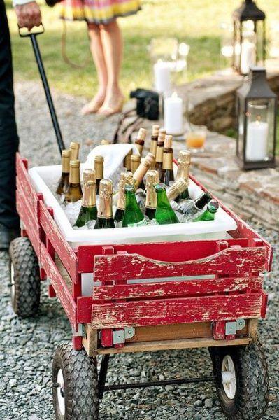 wijn koelen tuinfeest drank kruiwagen