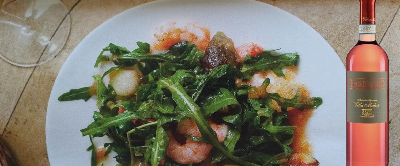 Bardolino Chiaretto insalata scampi fichi